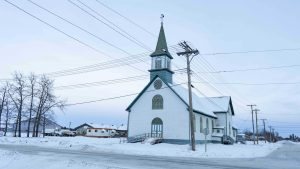 A file photo of the church in Fort Resolution in December 2018. Sarah Pruys/Cabin Radio