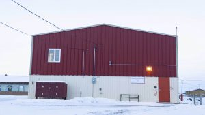 A file photo of the fire hall in Fort Resolution in December 2018. Sarah Pruys/Cabin Radio