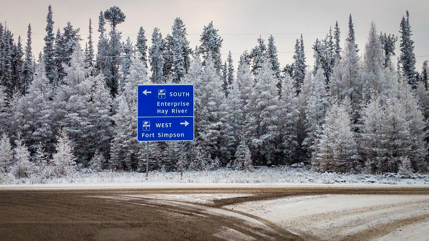 A file photo shows the intersection of Highways 1 and 3 outside Fort Providence in November 2018. Ollie Williams/Cabin Radio