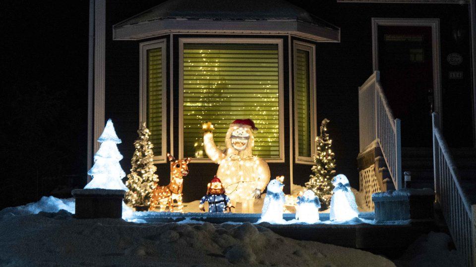 Yellowknife Christmas lights: Abominable snowmen on Kasteel Drive.