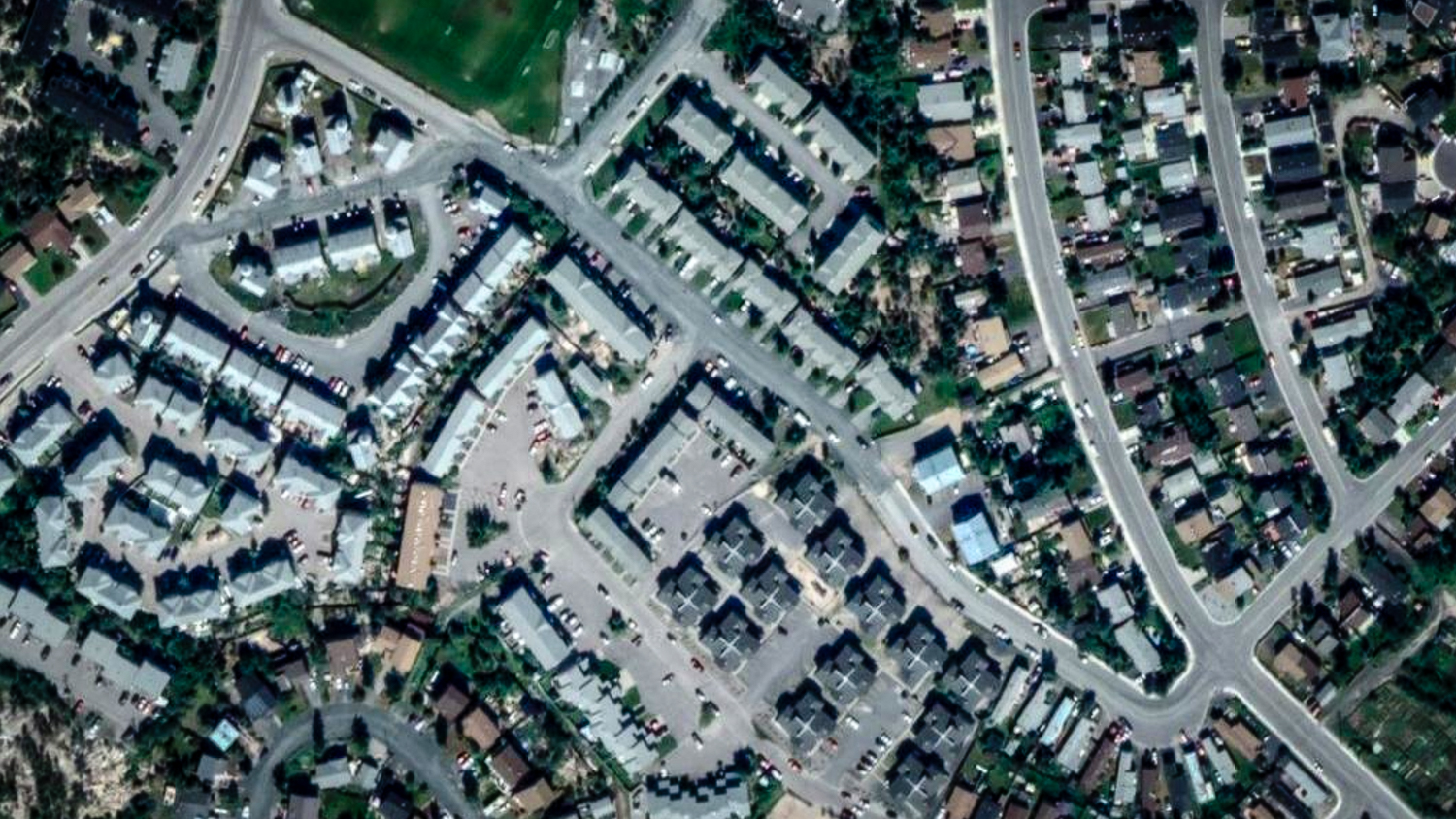 An aerial view of Yellowknife's Williams Avenue