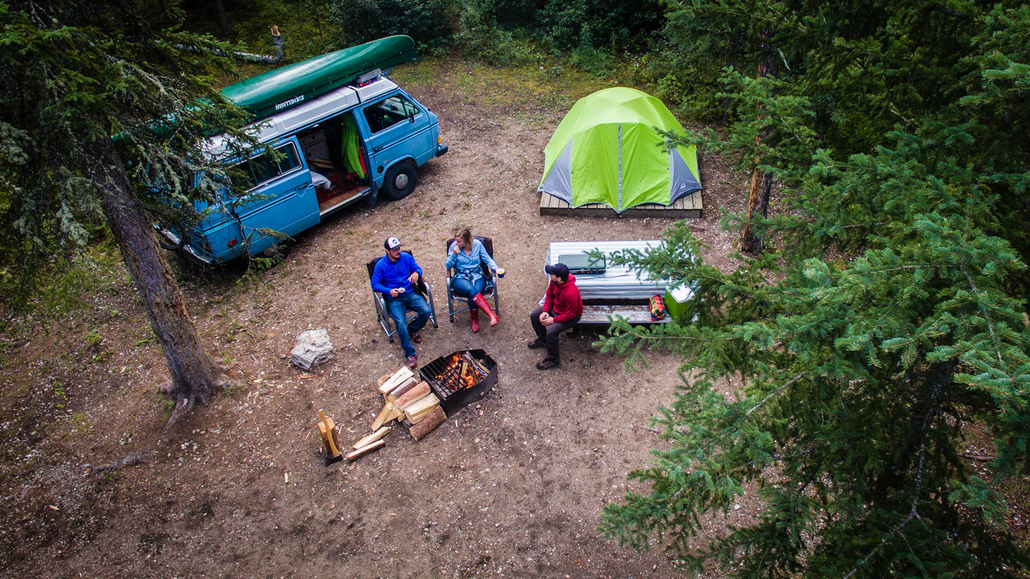 Campers at a South Slave campsite in 2017
