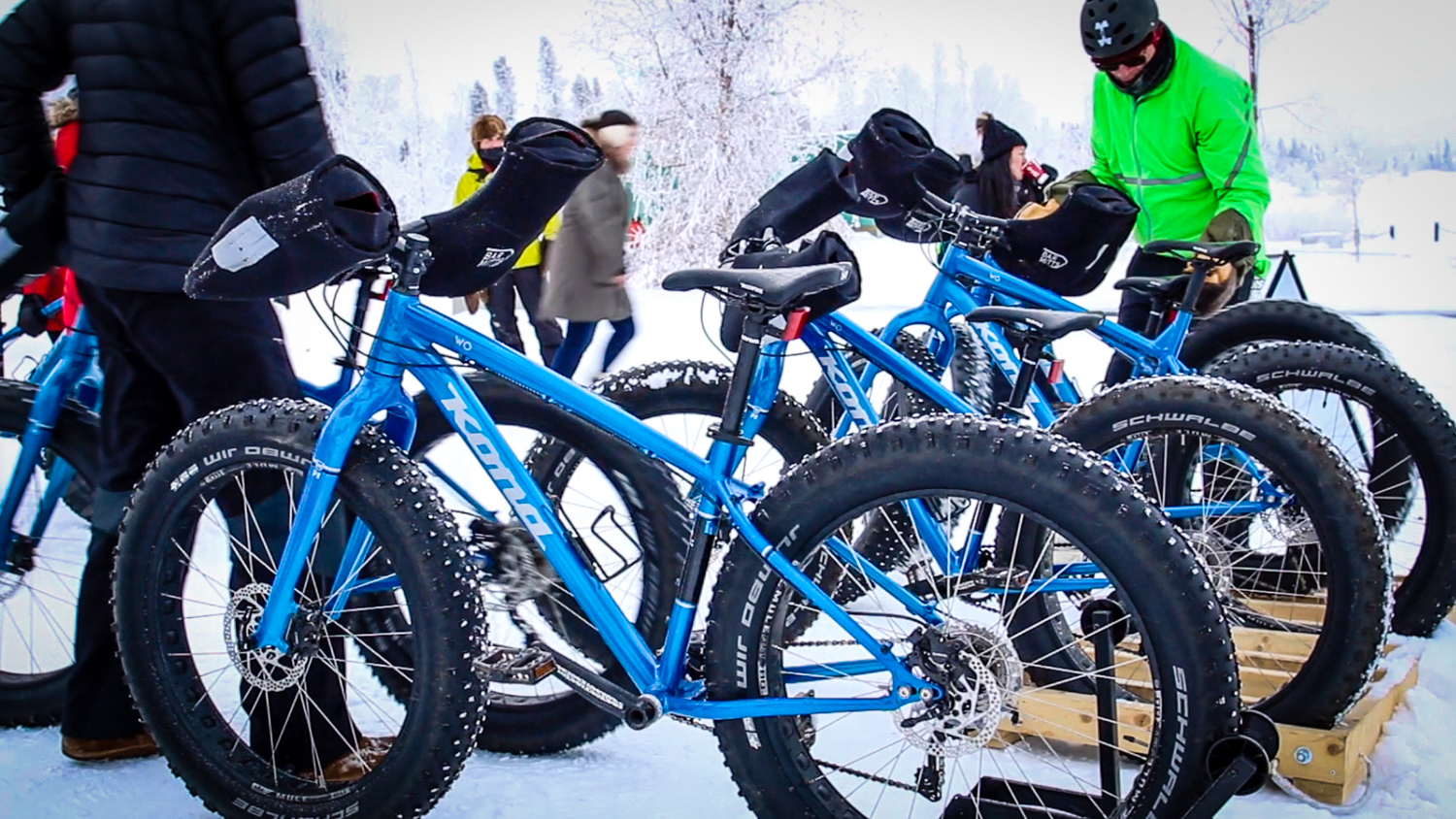 Fat bikes on display at Yellowknife's Somba K'e Civic Plaza on World Snow Day in 2017