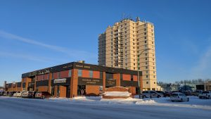 A file photo of downtown Hay River in February 2019. Sarah Pruys/Cabin Radio