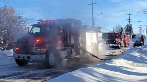 A file photo of firetrucks in Fort Smith in February 2019. Sarah Pruys/Cabin Radio
