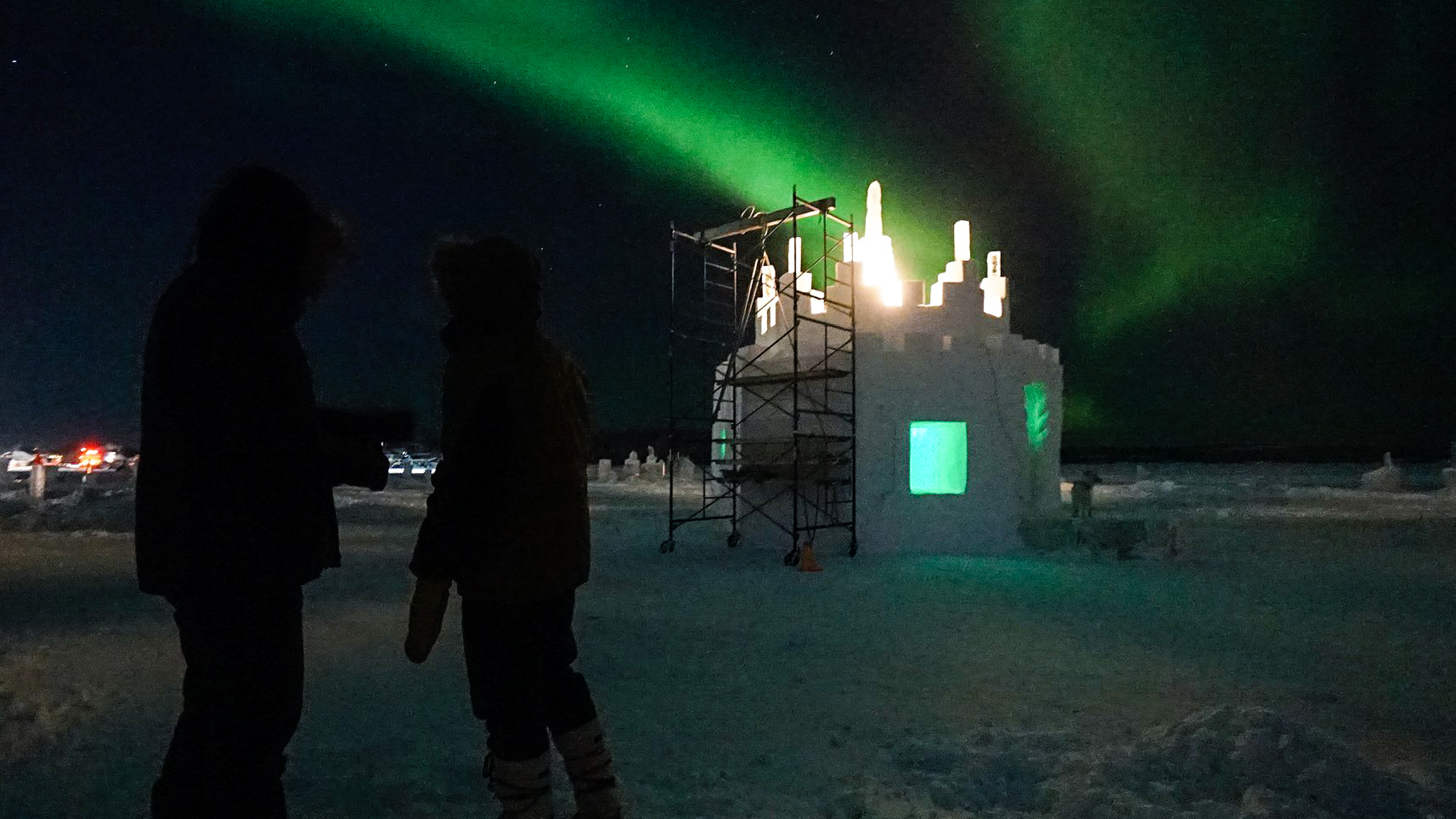 A photo posted to Facebook by Snowking's Winter Festival shows a warming hut on the ice