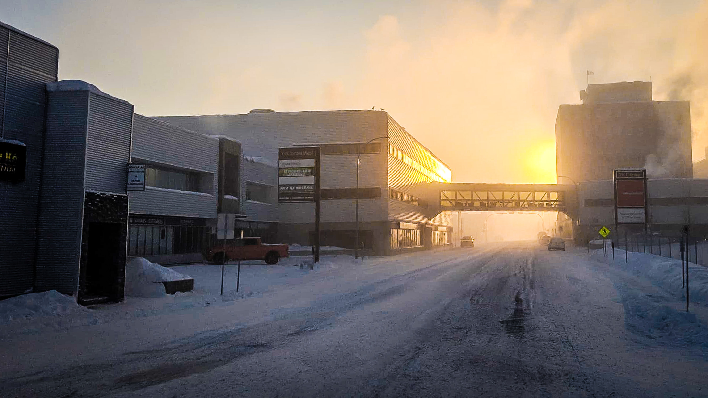 A wintry Sunday morning in Yellowknife in February 2019
