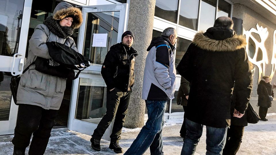 Crown prosecutor Martine Sirois, left, leaves the Yellowknife courthouse alongside people who attended the sentencing decision of diamond thief Samson Mkhitaryan