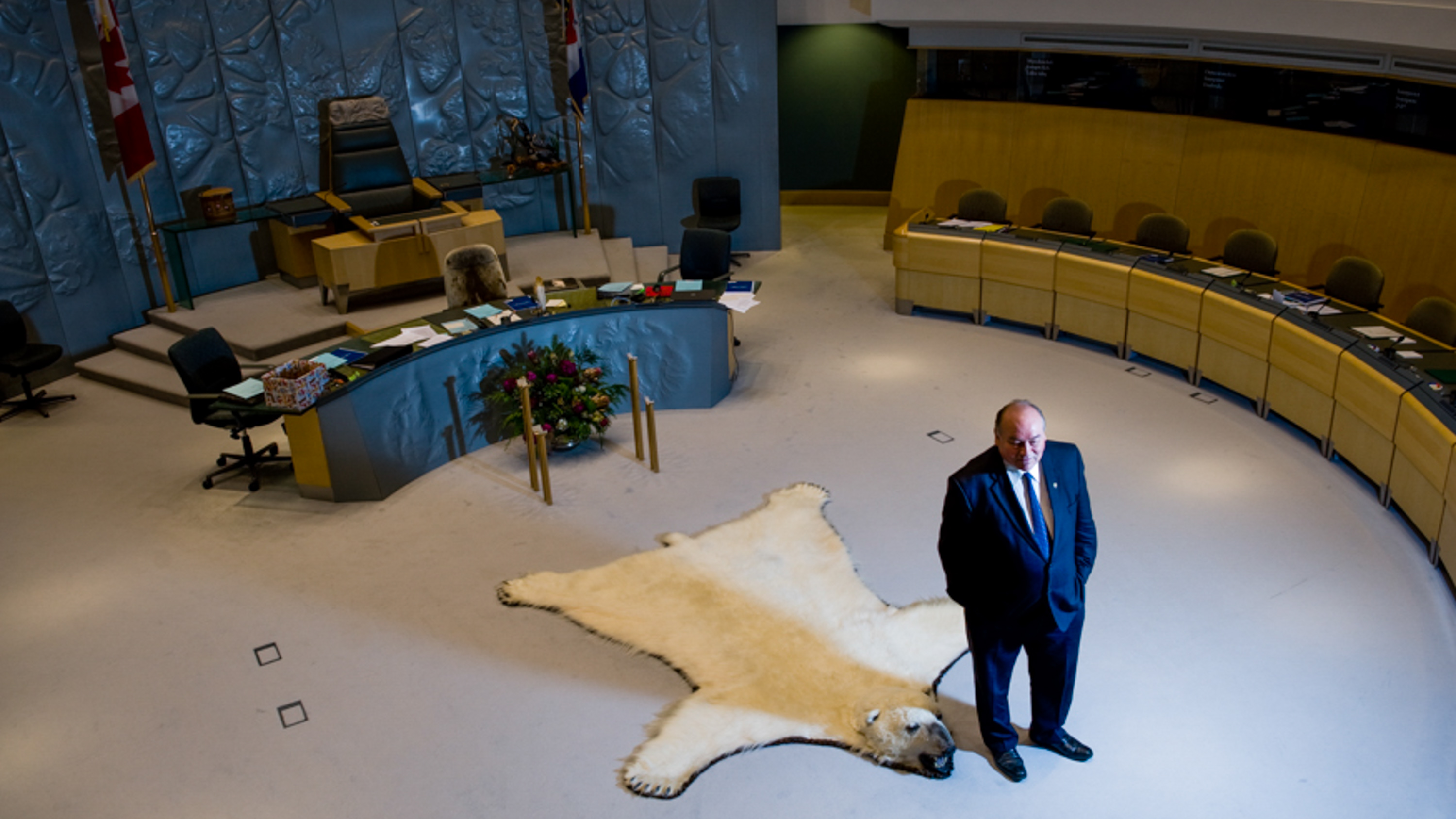 Premier Bob McLeod stands in the main chamber of the NWT's legislature