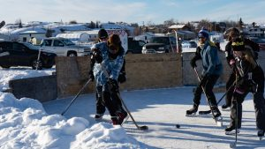 A file photo of Snow King Cup pond hockey tournament in March 2019. Sarah Pruys/Cabin Radio