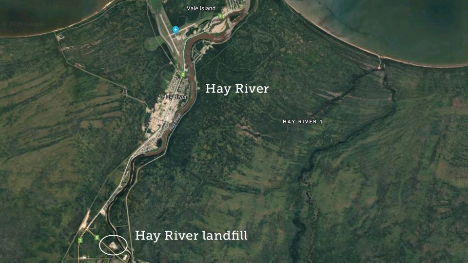 A map of Hay River shows the community and the location of its landfill