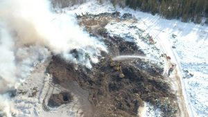 An aerial photo of the Hay River landfill fire on March 11, 2019. Town of Hay River/Facebook