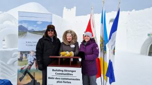Michael McLeod, member of parliament; Bernadette Jordan, minister of rural economic development; and Rebecca Alty, mayor of Yellowknife, announced a $25.8 million in federal funding for disaster mitigation in the Yellowknife region on Wednesday morning. Sarah Pruys/Cabin Radio