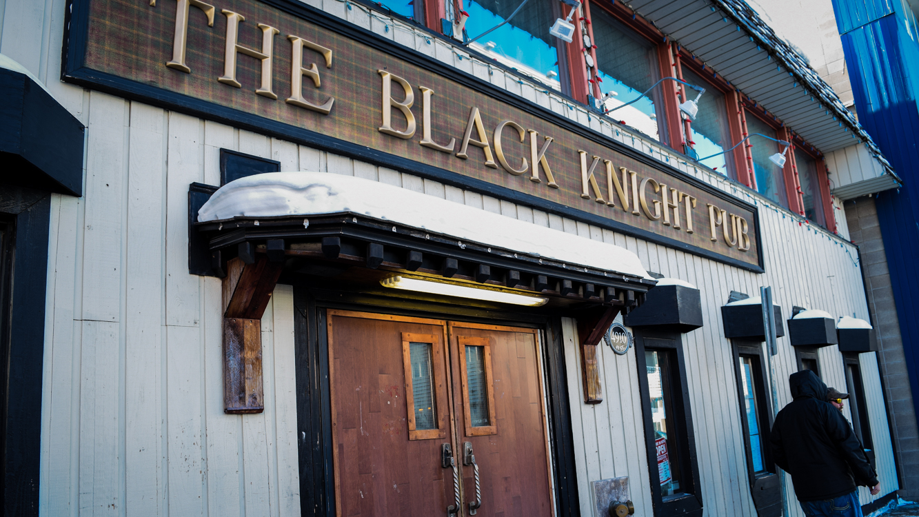 The Black Knight Pub is seen on March 13, 2019