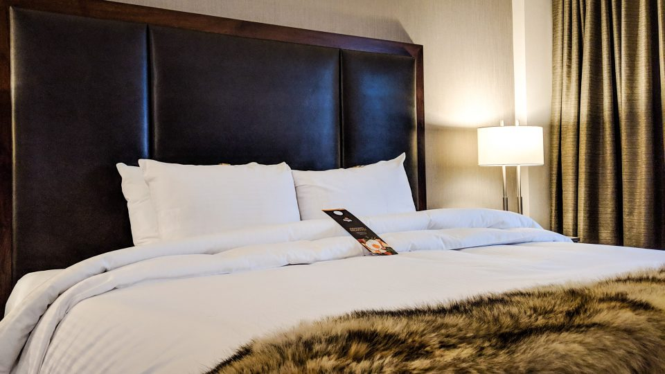 The bed in the Explorer Hotel's Aurora Suite