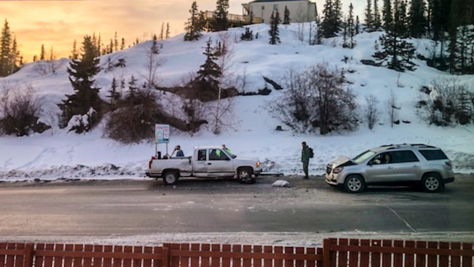 Two vehicles are shown after a collision on Yellowknife's Franklin Avenue on March 19, 2019