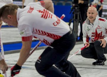 Kevin Koe competing at the 2019 World Championships of Curling