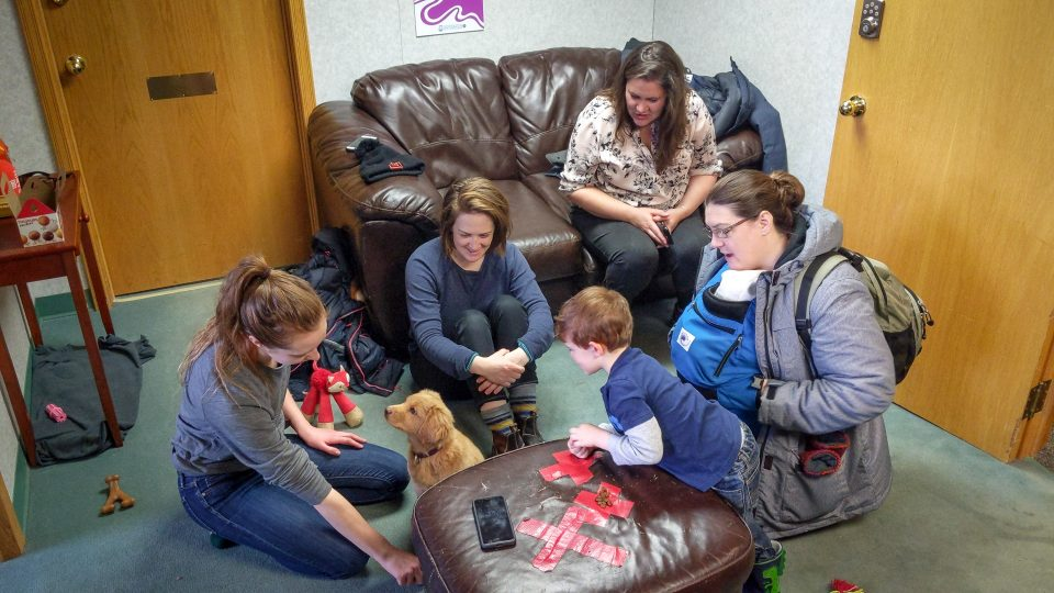 Penny meets visitors to the Cabin Radio studios