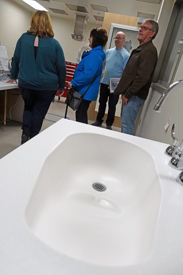 A sink inside the maternity ward