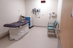 An examination room inside the new hospital