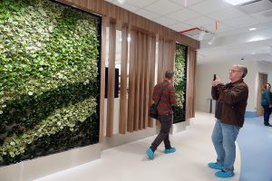 """A """"living wall"""" greets people in the main atrium of the new Stanton Hospital"""