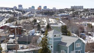 A file photo of downtown Yellowknife in May 2019. Sarah Pruys/Cabin Radio