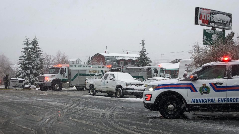 Emergency services gathered outside Arctic Farmer on the evening of May 29, 2019