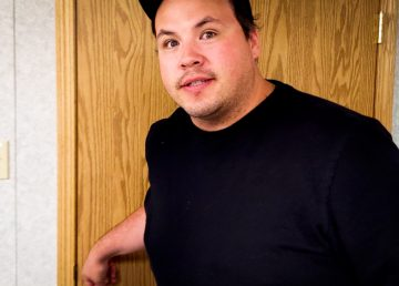 Jesse Wheeler in front of 'Studio 3'