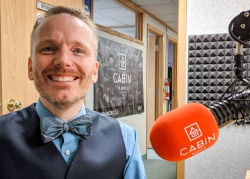 NWT 2019 federal election Conservative candidate Yanik D'Aigle in Cabin Radio's Studio Two