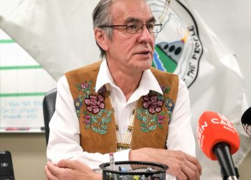 Norman Yakeleya, the Dene National Chief, addresses reporters at a news conference in May 2019