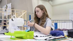 Kaylin Harder competes in the Skills Canada NWT territorial competition on May 3 in Yellowknife. Sarah Pruys/Cabin Radio