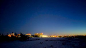 The night sky over Yellowknife is seen from Niven Lake in March 2019