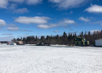The remains of a Yellowknife Bay houseboat are pictured on May 15, 2019