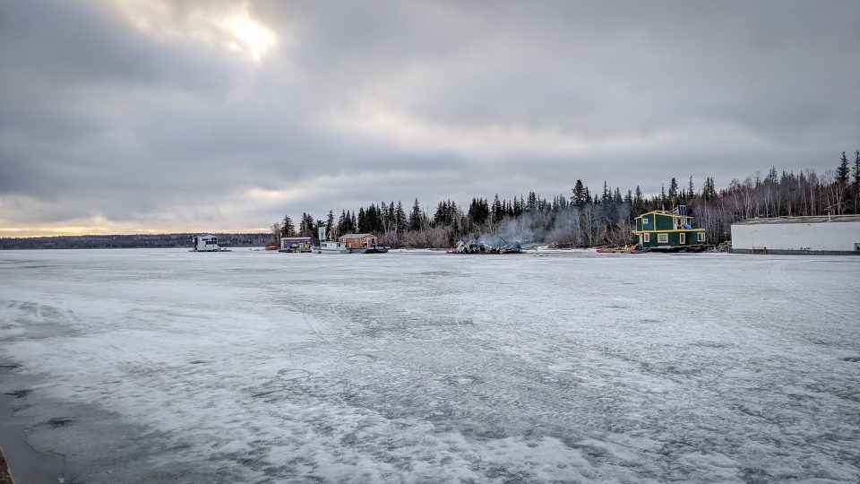 Yellowknife Bay, including the remains of a houseboat which caught fire on May 15, 2019
