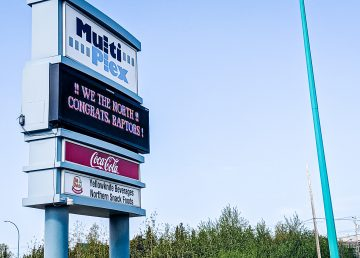 A City of Yellowknife sign congratulates the Toronto Raptors on June 14, 2019