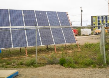 A file photo of solar panels in the town of Inuvik