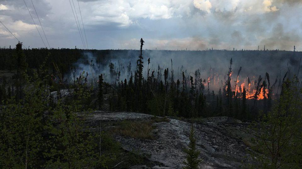 A fire at the base of a Northwestel tower near Prelude Lake. Dan Hosfeld/Photo
