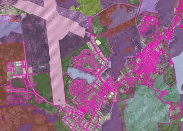 A section of a City of Yellowknife-produced map showing land withdrawals within City boundaries