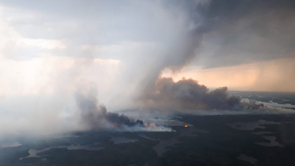 A territorial government image of wildfire ZF-024, northwest of Yellowknife, as it appeared on July 21, 2019