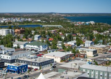 A view of Yellowknife in the summer of 2019, stretching from the downtown out toward Giant Mine