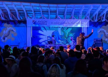 Audience members at the 2019 Folk on the Rocks beer garden stage