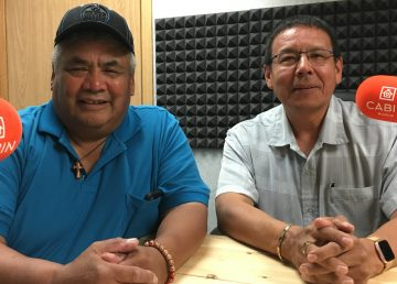 Chief of Dettah Edward Sangris, left, and Chief of Ndilo Ernest Betsina speak about the proposed change to the City of Yellowknife's municipal boundaries