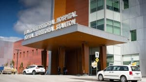 A file photo of the new Stanton Territorial Hospital in July 2019. Sarah Pruys/Cabin Radio