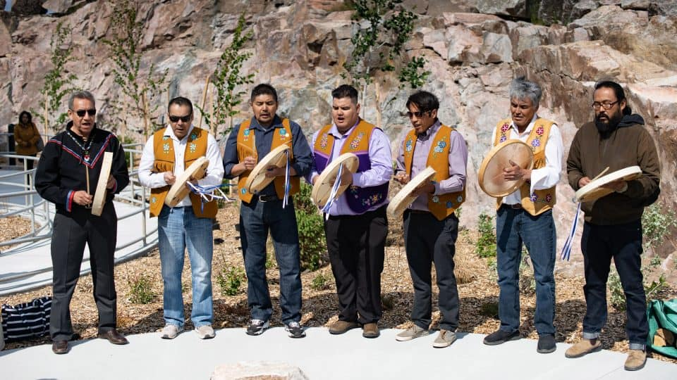 The NWT Drummers perform at the Stanton Territorial Hospital opening in July 2019. Sarah Pruys/Cabin Radio