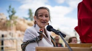 Minister Caroline Cochrane speaks at the opening of the Stanton Territorial Hospital in July 2019. Sarah Pruys/Cabin Radio