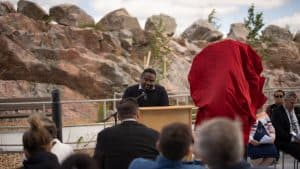 Jason Snaggs, the CEO of Yellowknives Dene First Nation, speaks at the opening of the Stanton Territorial Hospital in July 2019. Sarah Pruys/Cabin Radio