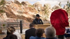 Jim Antoine, the chair of the Northwest Territories Health and Social Services Authority, speaks at the opening of the Stanton Territorial Hospital in July 2019. Sarah Pruys/Cabin Radio