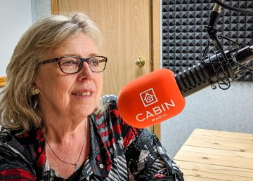 Elizabeth May in Cabin Radio's Studio Two