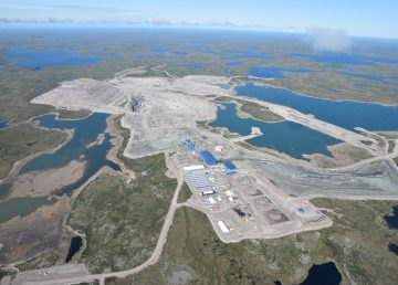 An aerial view of the Gahcho Kué mine taken in July 2019