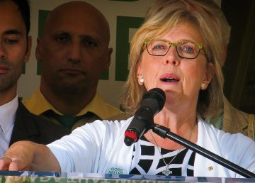 Green Party leader Elizabeth May is pictured at a 2015 campaign event